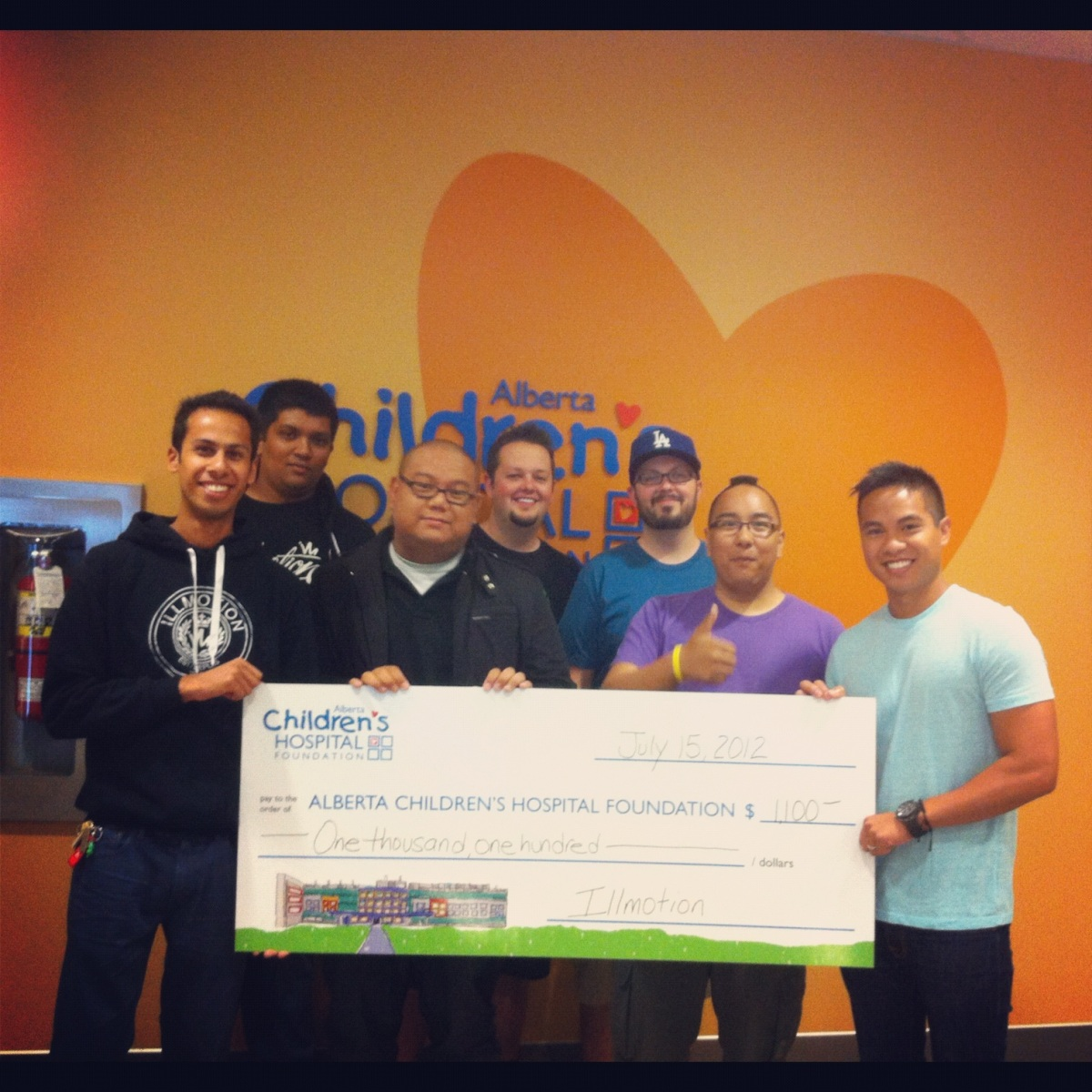 The first donation illmotion made to the Alberta Children's Hospital